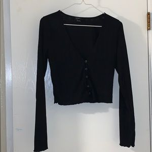 Black crop too long sleeve